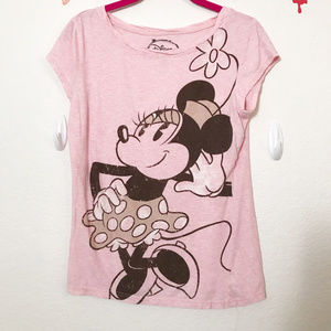 Disney Minnie Mouse Vintage Pink Graphic Tee Shirt